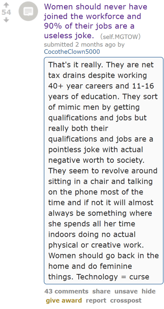 Women should never have joined the workforce and 90% of their jobs are a useless joke. (self.MGTOW)  submitted 2 months ago by CocotheClown5000  That's it really. They are net tax drains despite working 40+ year careers and 11-16 years of education. They sort of mimic men by getting qualifications and jobs but really both their qualifications and jobs are a pointless joke with actual negative worth to society. They seem to revolve around sitting in a chair and talking on the phone most of the time and if not it will almost always be something where she spends all her time indoors doing no actual physical or creative work. Women should go back in the home and do feminine things. Technology = curse