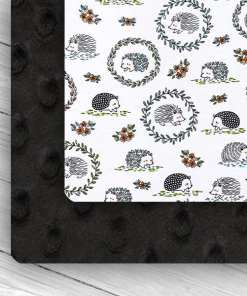 Custom Weighted Blanket Black/Hedgehogs Combo