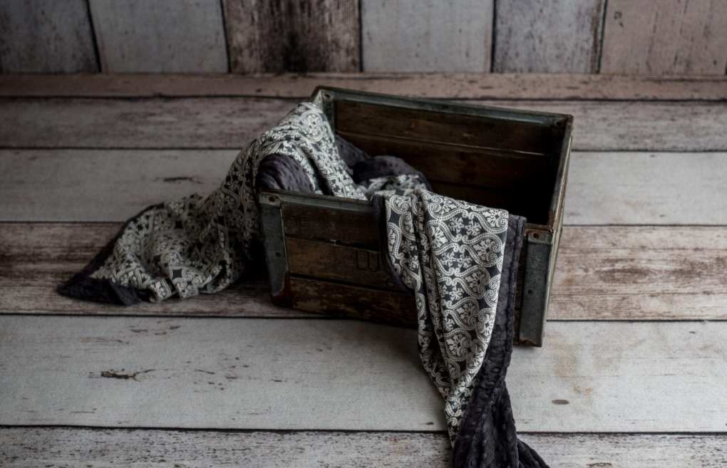 Gray Damask Weighted Blanket in decorative crate