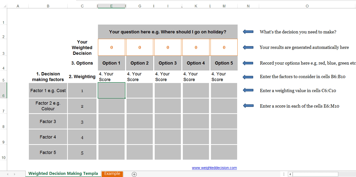 Excel Decision Matrix Template Image Collections