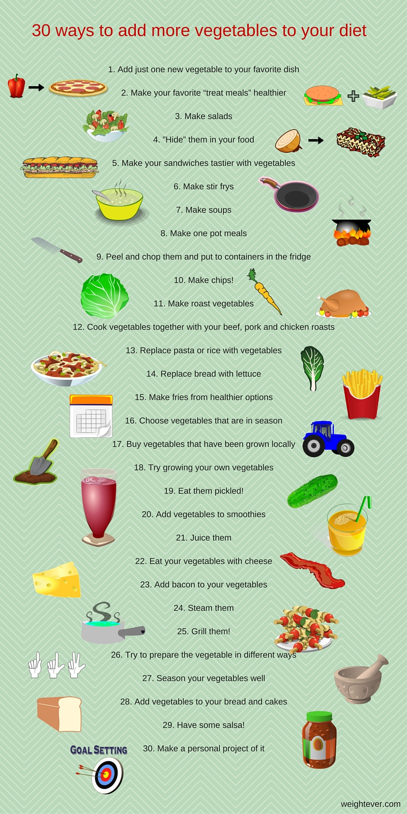 30 ways to add more vegetables to your diet