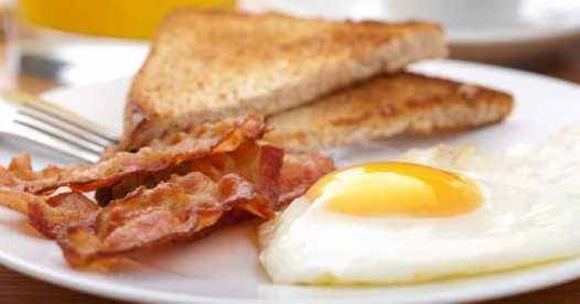 Image result for bacon and eggs on toast