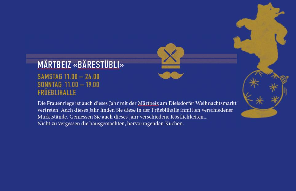 Märtbeiz «Bärestübli»: Samstag 11.00 – 24.00 + Sonntag 11.00 – 19.00, FRÜEBLIHALLE
