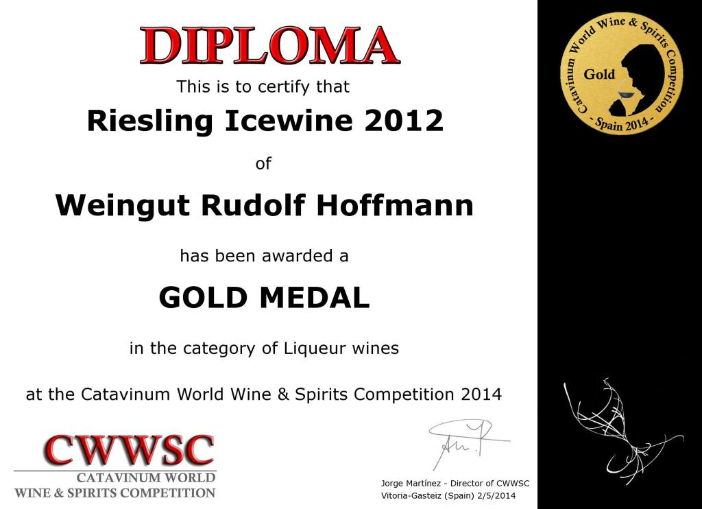 Gold Medal for Riesling Icewine 2012