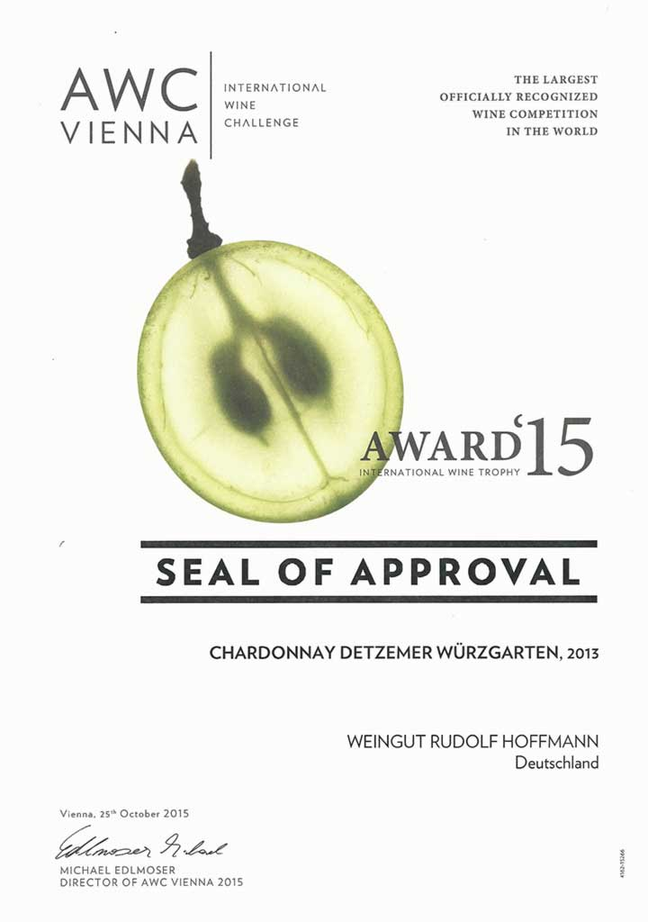Seal Of Approval 2015 for Chardonnay 2013