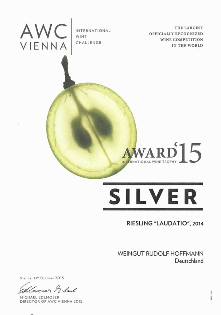 """AWC Silver Award 2015 for Riesling """"Laudatio"""" 2014"""