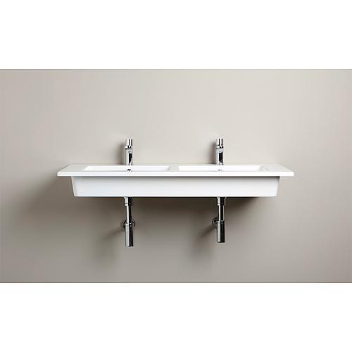 Double Vasque Elikia 1210x510mm Ceramique Blanc Avec Trou De Robinet