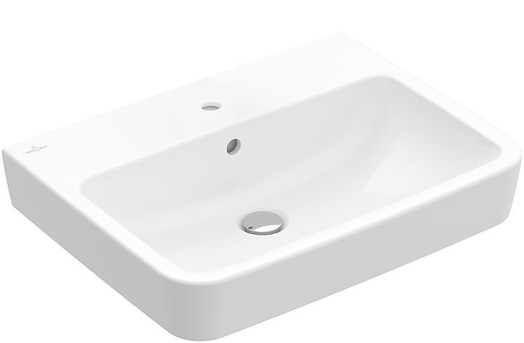 V B O Novo Square Vasque Ceramique Blanc 1 Trou Robinet Avec Trop Plein Lxhxp 600x125x460mm