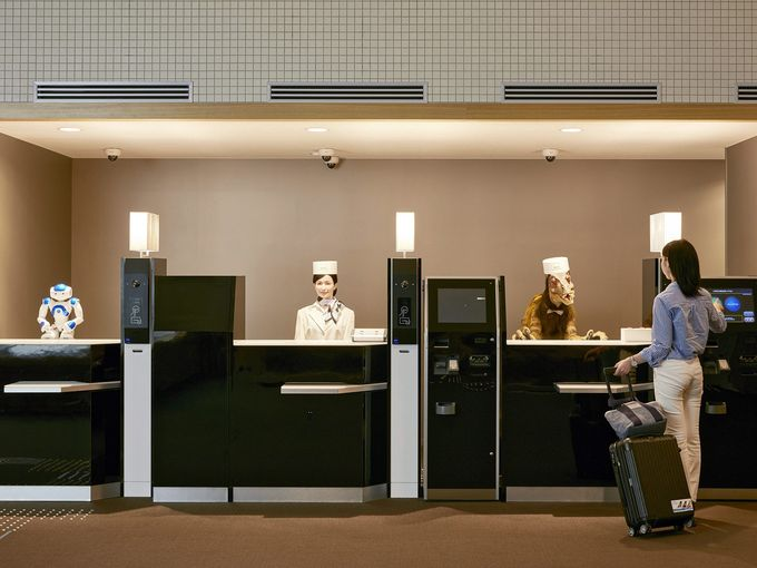 Check in desk at the robot hotel in Japan