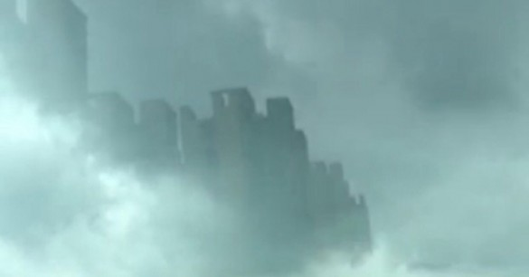 Floating city in clouds