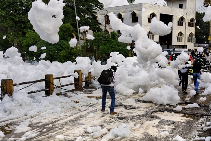 Pedestrians caught in the toxic foam