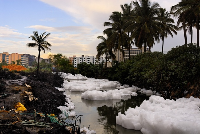 Toxic foam covering only part of the river