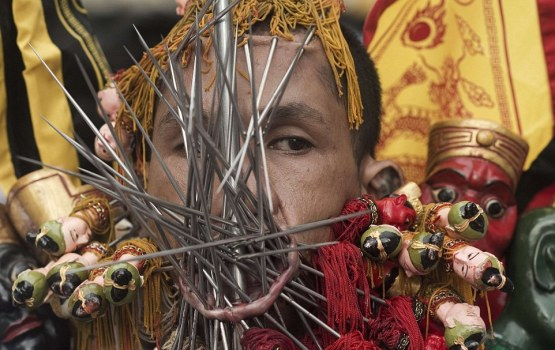 Thai Vegetarian Festival Requires Extreme Body Piercing
