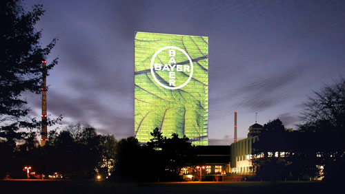 Bayer and bayer building becomes giant billboard
