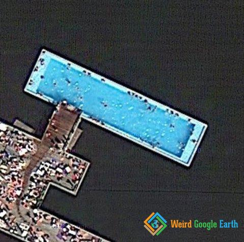 crazy public swimming pool weird google earth