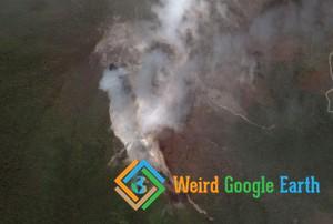 Volcano Gunung Eruption, Langkat, North Sumatra, Indonesia