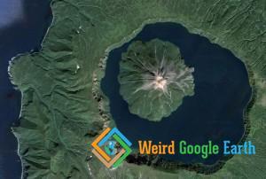 Volcano, Lake, Island, Ocean, Sakhalin Oblast, Russia