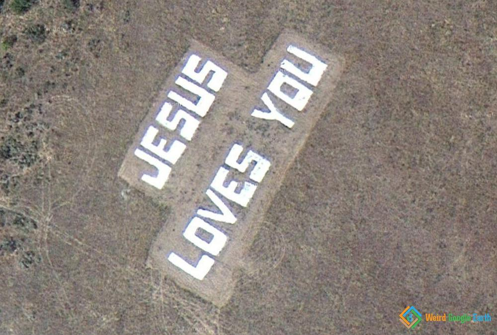 Jesus Loves You – Weird Google Earth