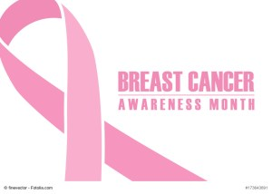 Breast cancer awareness month banner. Pink ribbon on white background.
