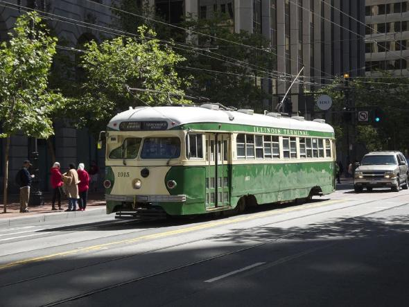 San Francisco PCC, F Market & Wharves Lines http://en.wikipedia.org/wiki/F_Market_%26_Wharves#mediaviewer/File:Car_1015_(Illinois_Terminal)_on_Market_Street.jpg
