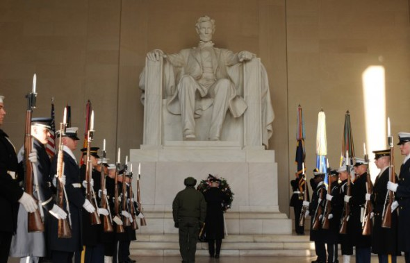 Photo Credit: Sgt. Jose A. Torres Jr. Maj. Gen. Michael S. Linnington, commanding general, Military District of Washington, lays a wreath at the foot of the President Abraham Lincoln statue at the Lincoln Memorial in honor of Lincoln's birthday in Washington D.C., Feb. 12. 2012.