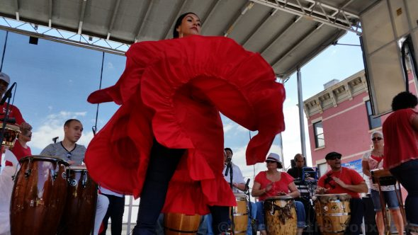 Bomba dancing last year at a block party in Port Morris