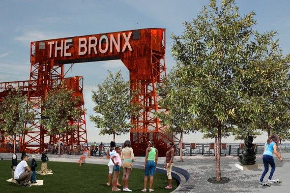 The gantries at 134th Street would be one of the focal points of this plan./ Renderings courtesy of NYRP