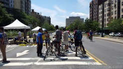 Bikers took advantaged of the closed center lanes of the Grand Concourse.