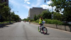 Cyclists of all ages came to enjoy the car-free open space of the Grand Concourse.