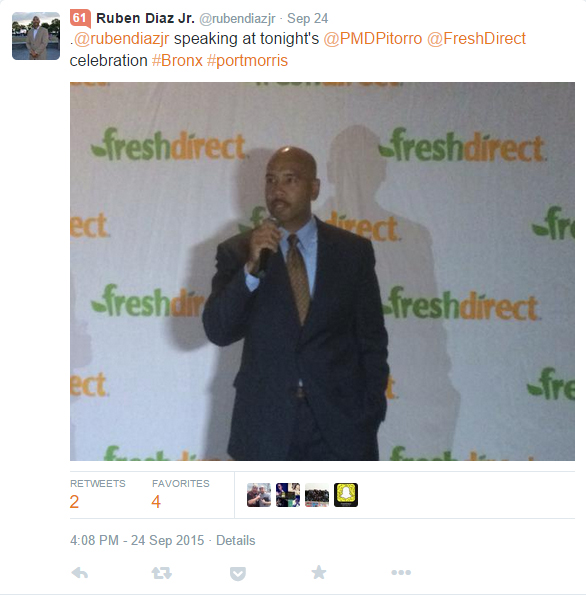 Tweet from Bronx Borough President Ruben Diaz, Jr celebrating the partnership between Port Morris Distillery and FreshDirect which was severed once the community protested about the deal.