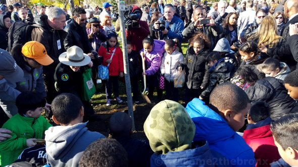 School kids from PS 35 Franz Siegel School helped plant the 1,017,634th tree, an American linden, during today's celebration.