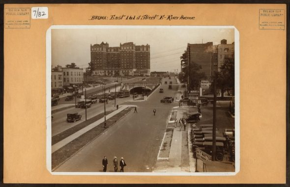 """161st Street looking East towards the Grand Concourse and the Concourse Plaza Hotel / Image Credit: Irma and Paul Milstein Division of United States History, Local History and Genealogy, The New York Public Library. """"Bronx: 161st Street (East) - River Avenue"""" The New York Public Library Digital Collections. 1926."""