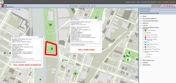 ZoLa, NYC's zoning and land use site shows the area mapped out as parkland as well. It even categorizes it as open space/recreation