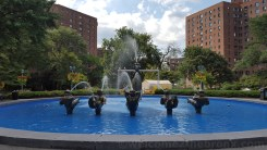 The fountain at Metropolitan Oval aka The Oval at Parkchester.