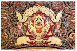 Vaulted ceiling fresco of the mythical bird Garuda, vehicle of Vishnu, and a pair of white elephants