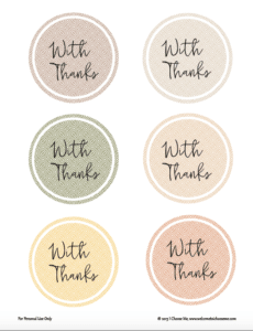 With Thanks Printable Tags