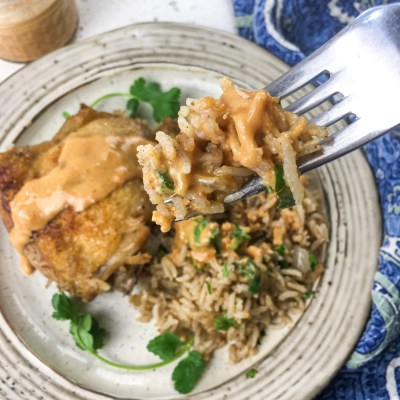 Chicken & Rice with Spicy Peanut Sauce