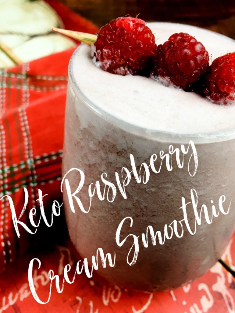 Keto Raspberry Smoothie in a glass
