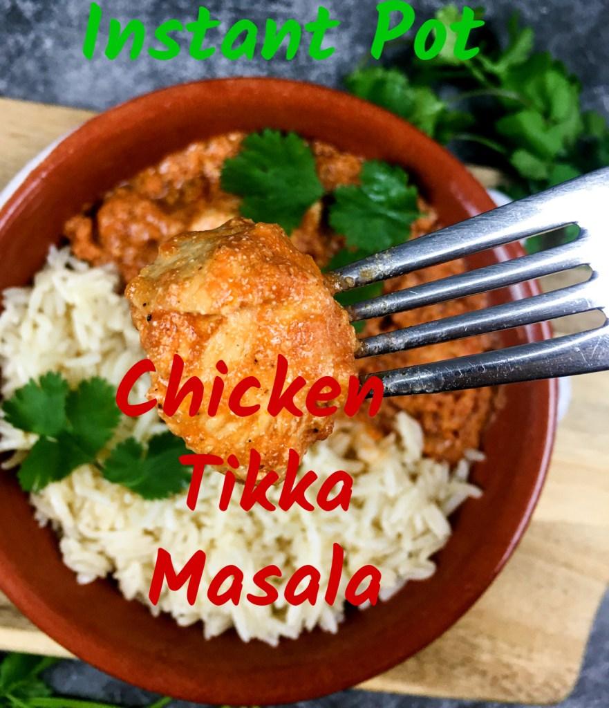 Instant Pot Chicken Tikka Masala  on a fork