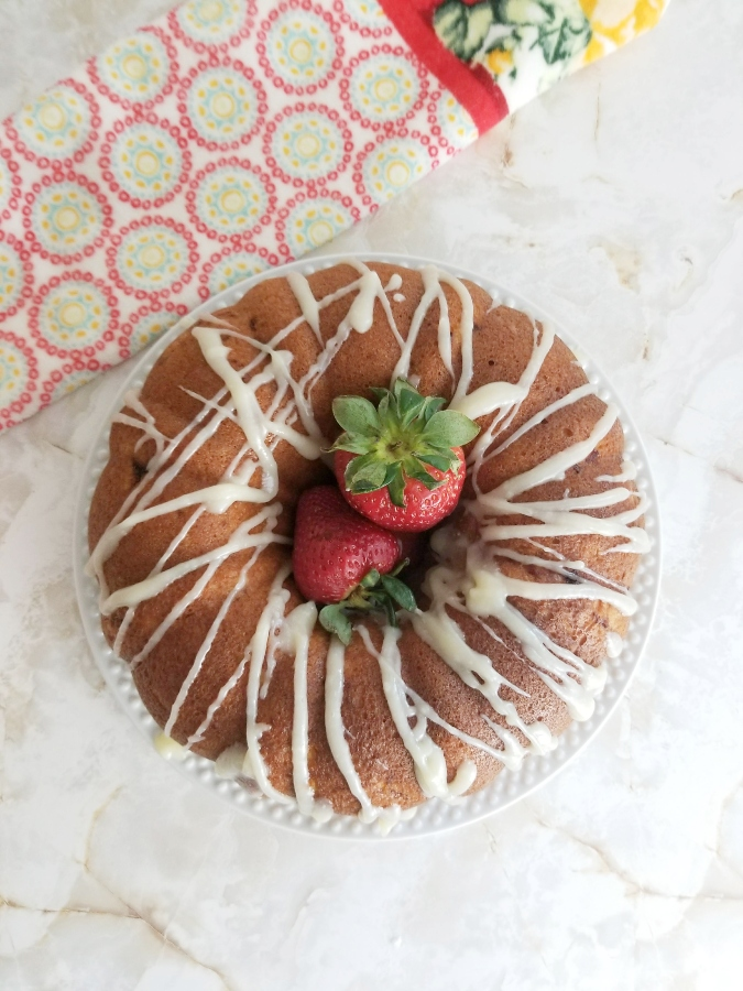 Sheila's Strawberry Bundt Cake on a plate