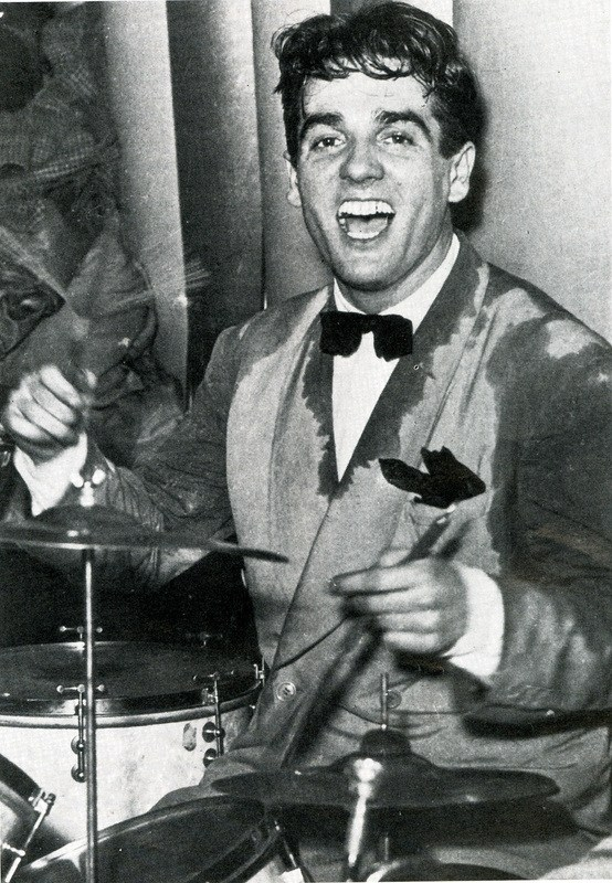 1937 – May 11th Gene Krupa playing with the Benny Goodman Orchestra in the legendary Battle of the Bands with Chick Webb's Orchestra at the Savoy Ballroom. Source: unknown.