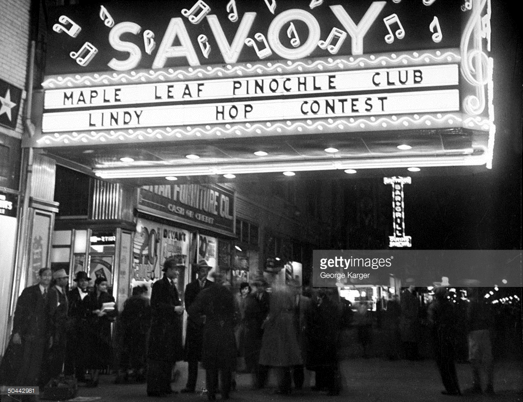 1938 – Marquee advertising Maple Leaf Pinochle Club Lindy Hop Contest. Source: Photo by George Karger, Pix Inc for LIFE Images Collection/Getty Images.