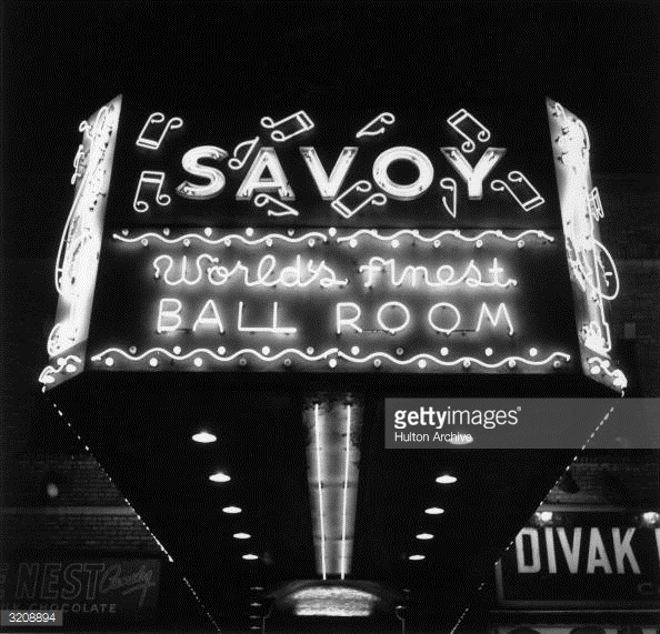 1947 – Underside of the Savoy Ballroom marquee. Source: Hulton Archive, Getty Images No 3208894.