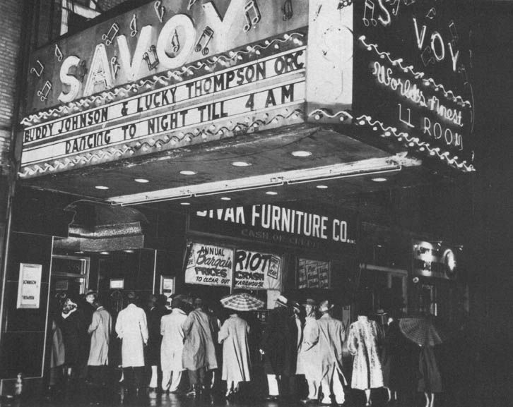 c.1950s – Savoy Ballroom marquee & entrance circa 1950s. Marquee advertising Buddy Johnson & Lucky Thompson orchestras. Source: unknown.