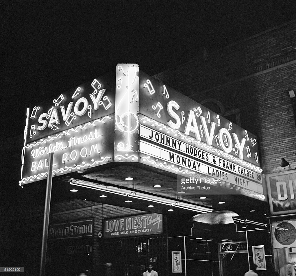 1955 – Johnny Hodges and Frank Galbee Orchestras advertised at the Savoy Ballroom, circa 1955. Source: Getty Images  (Image no. 515021901)