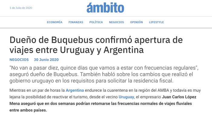 Dueño de Buquebus confirmó apertura de viajes entre Uruguay y Argentina