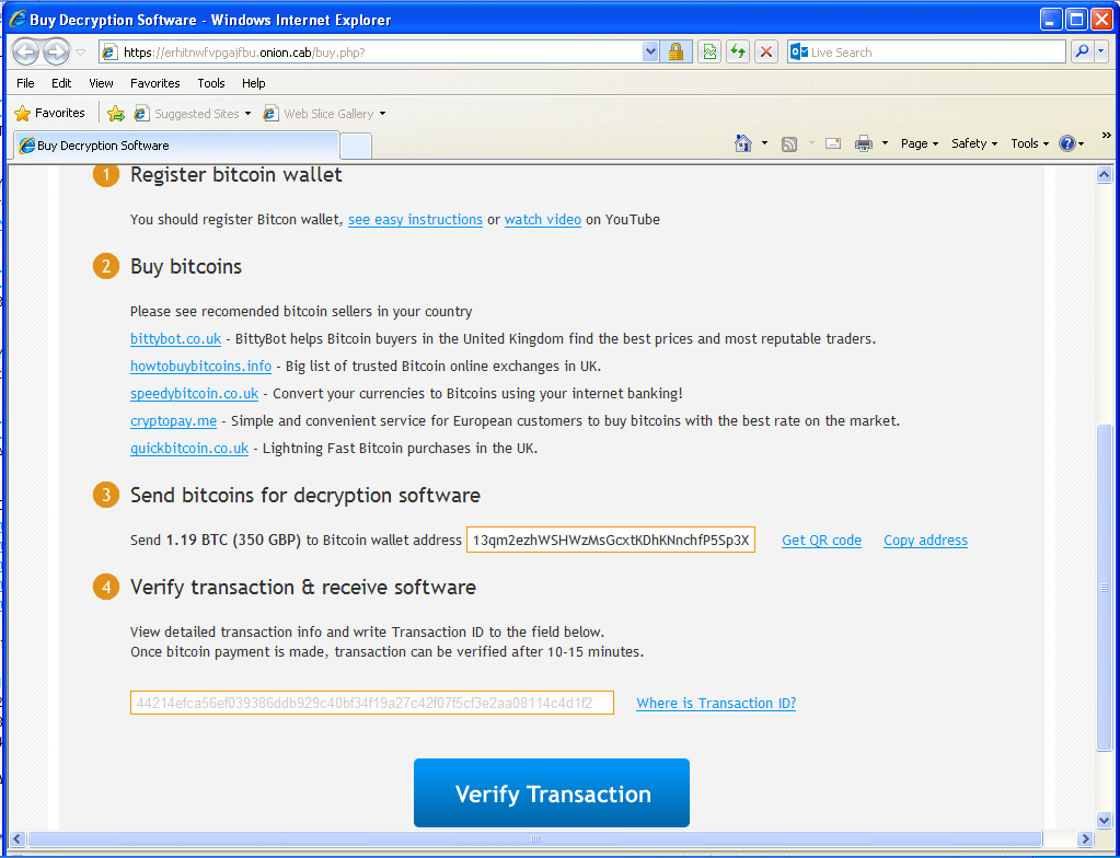 Bitcoin transaction details