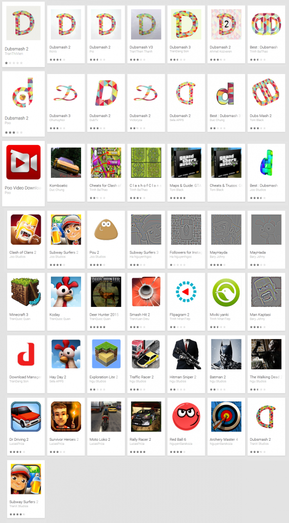 Figure 4 Porn clicker apps from Google Play