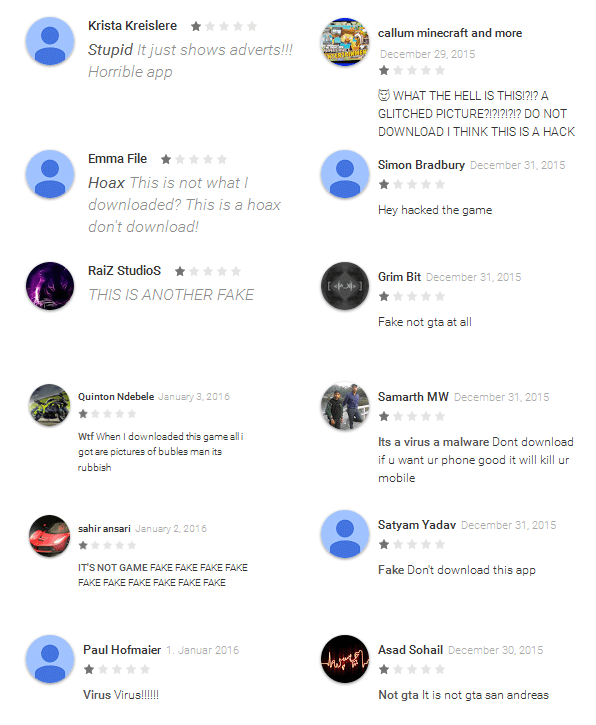 Figure 5 - Negative comments from Google Play